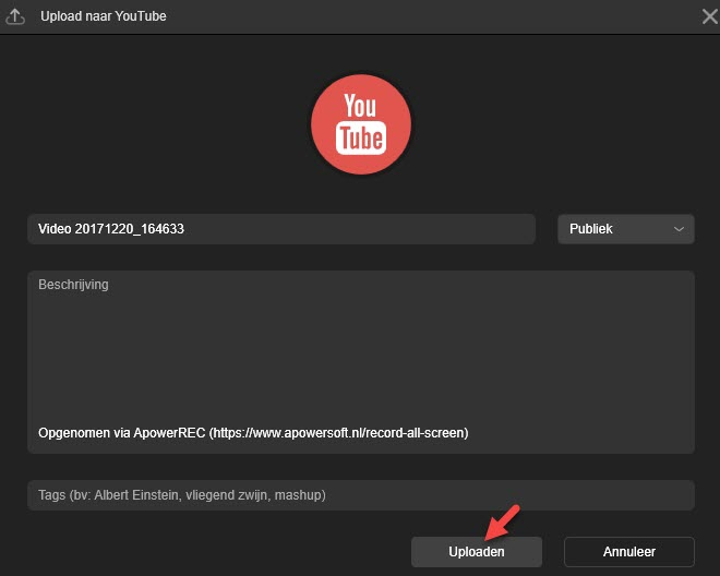 uploaden naar YouTube